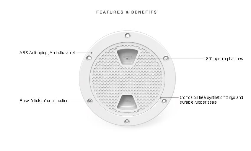 "8/"" Black Circular Non Slip Inspection Hatch W//Detachable Cover Seaflo 4/"""