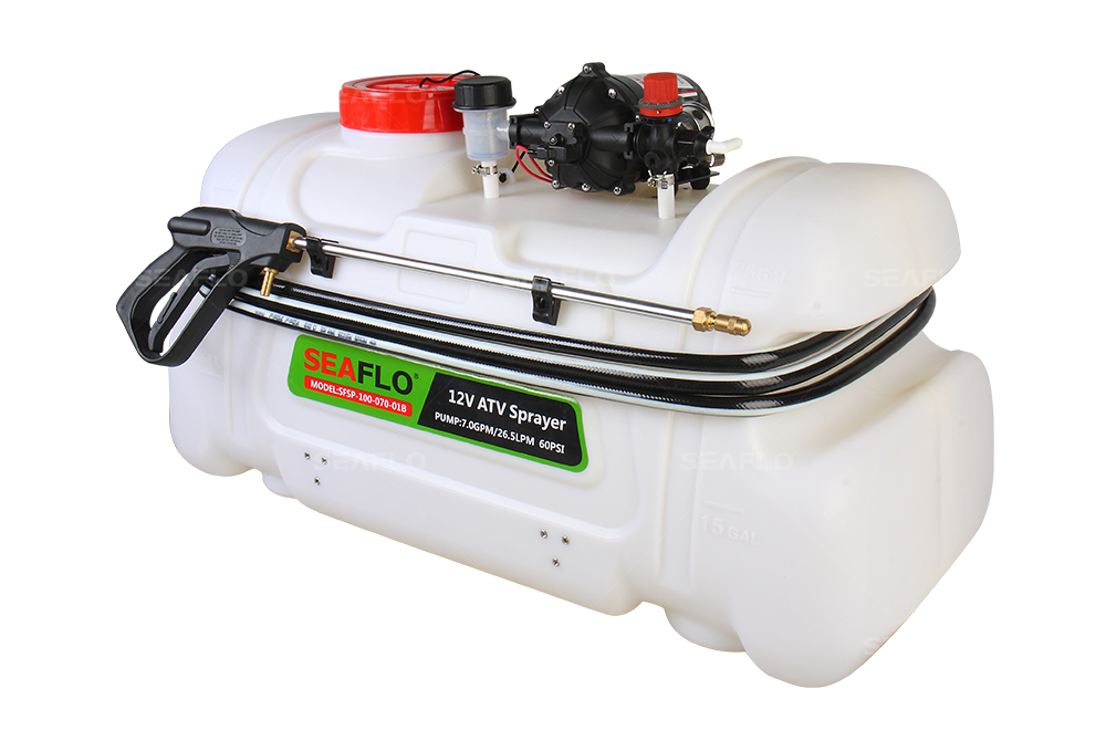 ATV Spot Sprayer 100L Capacity, 23LPM Pump, 60PSI / with Flow Regulator Valve