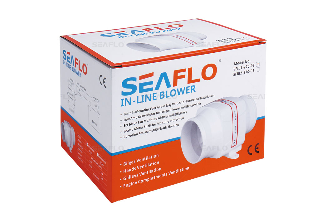 seaflo 4″ 270cfm in-line bilge blower fan